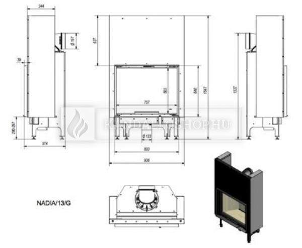 Kratki NADIA 13 G exkluzív sík üvegű légfűtéses kandallóbetét liftes tolóajtóval kandalloshop