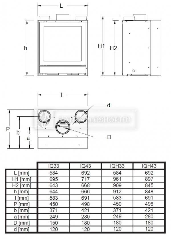 Nestor Martin IQ 33 sík üvegű légfűtéses kandallókályha kandalloshop