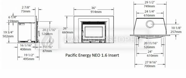 Pacific Energy Neo 1.6 Insert eredeti kanadai folytonégő kandallóbetét kandalloshop