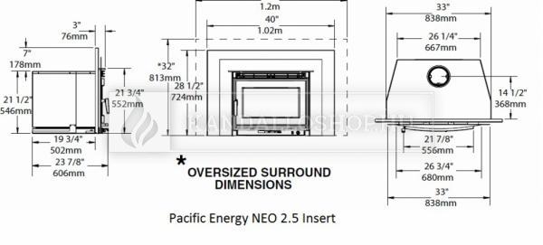 Pacific Energy Neo 2.5 Insert eredeti kanadai folytonégő kandallóbetét kandalloshop