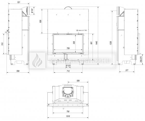 Kratki MBO 15 G légfűtéses sík üvegű acél kandallóbetét liftes tolóajtóval kandalloshop