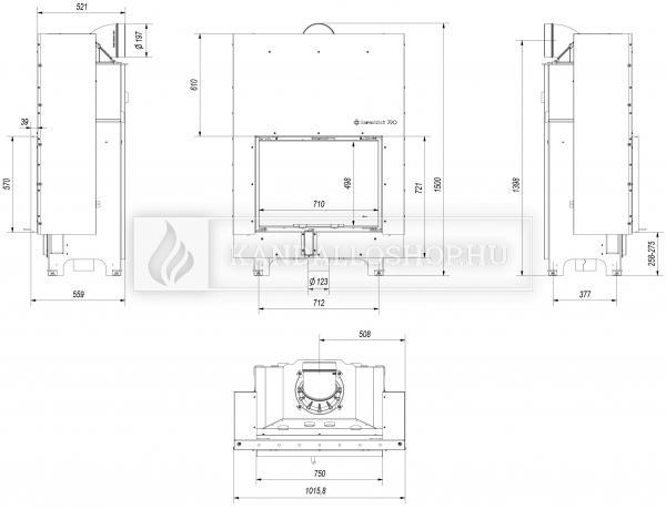 Kratki MBA 17 G légfűtéses sík üvegű acél kandallóbetét liftes tolóajtóval kandalloshop