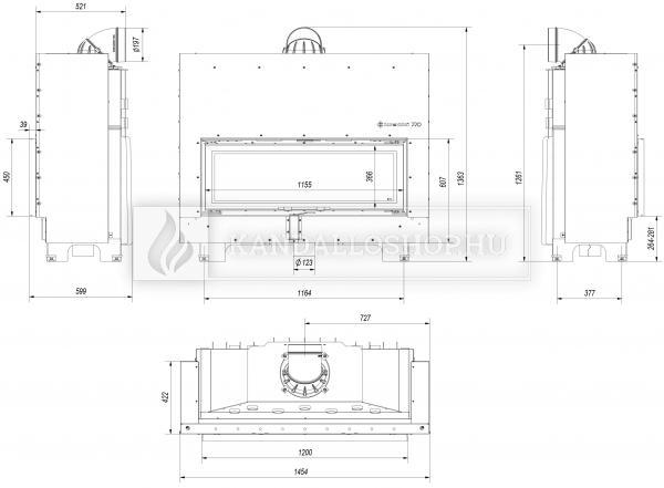 Kratki MB 120 G légfűtéses sík üvegű acél kandallóbetét liftes tolóajtóval kandalloshop