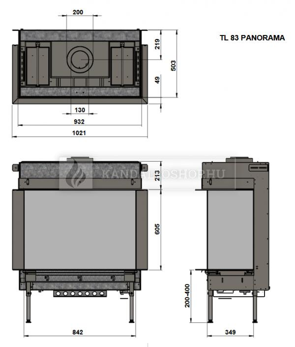 Trimline 83 Panoramic háromoldalú gáz kandallóbetét kandalloshop