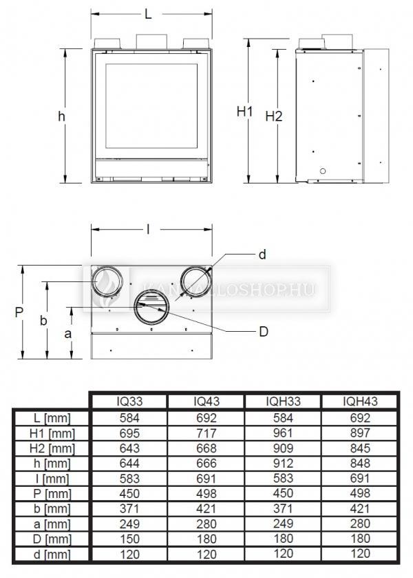Nestor Martin IQH 33 sík üvegű légfűtéses kandallókályha kandalloshops
